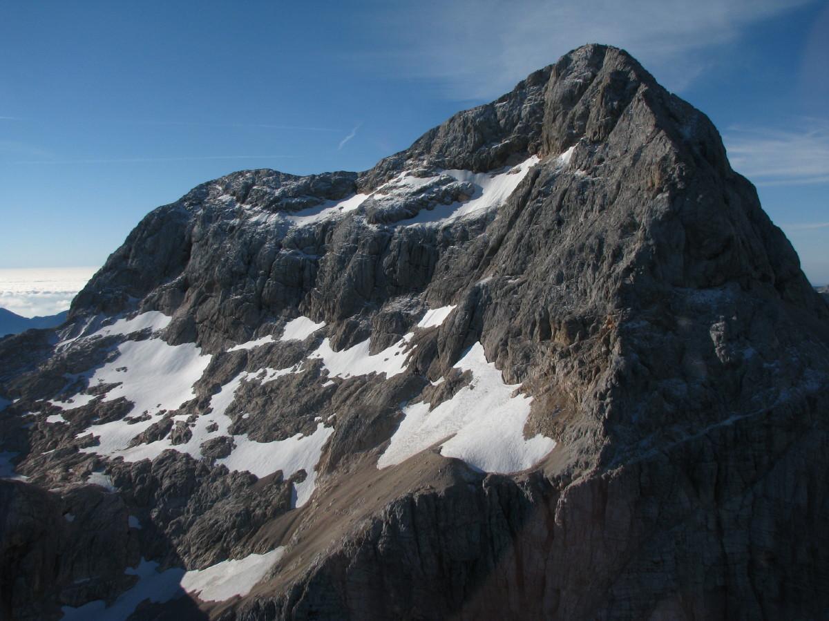 Ledenik iz zraka s severozahoda